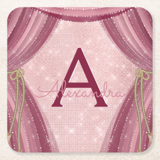 Blush Pink, Gold and Burgundy Girl's Birthday Square Paper Coaster