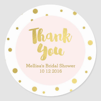 Blush Pink Gold Bridal Shower Thank You Favor Tags Round Sticker