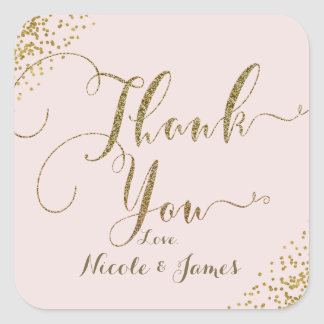 Blush Pink Gold Confetti Corners Thank You Favor Square Sticker