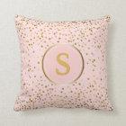 Blush Pink Gold Confetti Dots | Monogram Initial Cushion