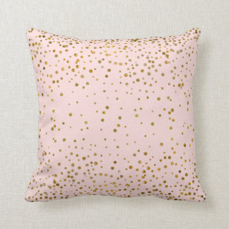 Blush Pink Gold Confetti Dots | Rose Quartz Chic Cushion