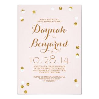 Blush pink & gold confetti modern bridal shower 13 cm x 18 cm invitation card