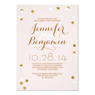 Blush pink & gold confetti modern engagement party 13 cm x 18 cm invitation card