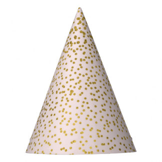 Blush Pink & Gold Confetti Modern Engagement Party Party Hat
