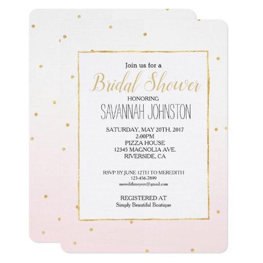 Blush Pink Gold Confetti Sparkle Ombre Card
