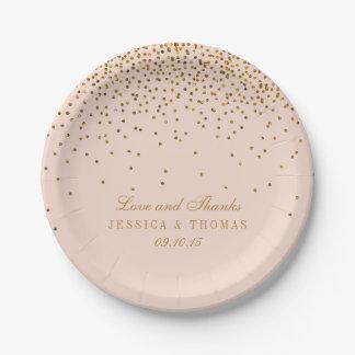 Blush Pink & Gold Confetti Wedding 7 Inch Paper Plate