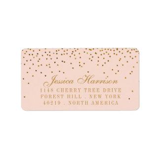 Blush Pink & Gold Confetti Wedding Address Label