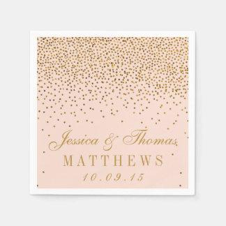 Blush Pink & Gold Confetti Wedding Disposable Serviette