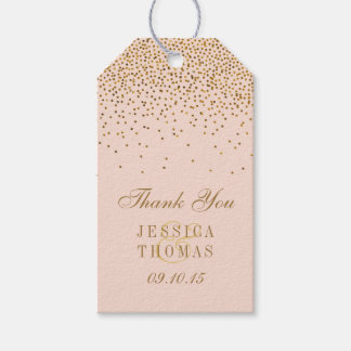 Blush Pink & Gold Confetti Wedding Gift Tags