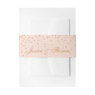 Blush Pink & Gold Confetti Wedding Invitation Belly Band