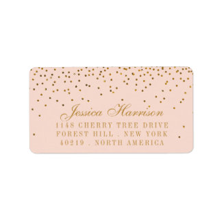 Blush Pink & Gold Confetti Wedding Label