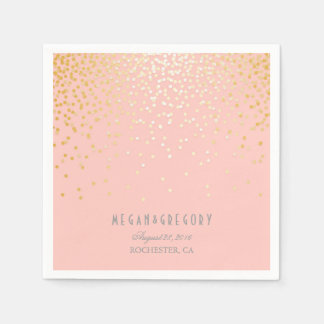 Blush Pink Gold Confetti Wedding Paper Napkins