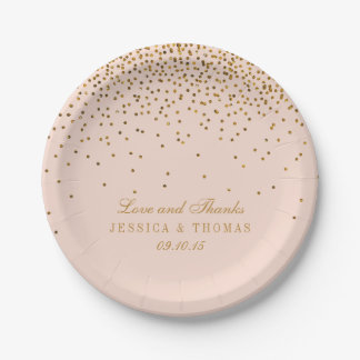 Blush Pink & Gold Confetti Wedding Paper Plate