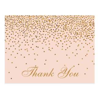 Blush Pink & Gold Confetti Wedding Thank You Postcard