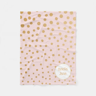 Blush pink gold dot personalized blanket with name
