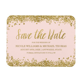 Blush Pink Gold Faux Glitter Save the Date Magnet