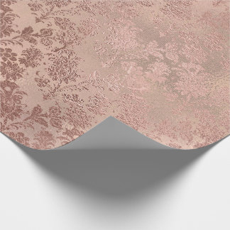Blush Pink Gold Floral Skinny Burlap Linen Wrapping Paper