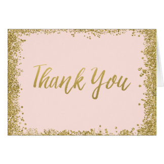 Blush Pink Gold Glitter Thank You Note Card