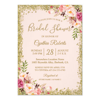 Blush Pink Gold Glitters Floral Bridal Shower Card