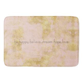 Blush Pink Gold Grunge Personalized Bath Mat