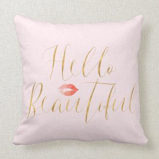 Blush Pink Gold Hello Beautiful Lips Cushion