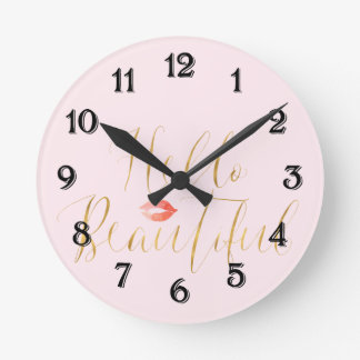 Blush Pink Gold Hello Beautiful Lips Round Clock