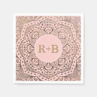 Blush Pink Gold Mandala Boho Wedding Monogram Disposable Serviette