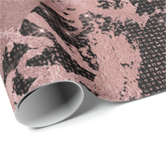 Blush Pink Gold Marble Sparkly Glam Urban Black Wrapping Paper