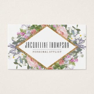 Blush Pink Gold Modern Geometric Floral Flowers Business Card