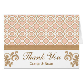 Blush Pink Gold Moroccan Thank You Wedding Card