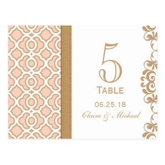 Blush Pink Gold Moroccan Wedding Table Number Postcard