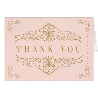 Blush Pink & Gold Ornate Swirl Bridal Shower Card