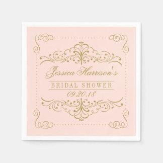 Blush Pink & Gold Ornate Swirl Bridal Shower Paper Napkins