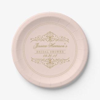 Blush Pink & Gold Ornate Swirl Bridal Shower Paper Plate