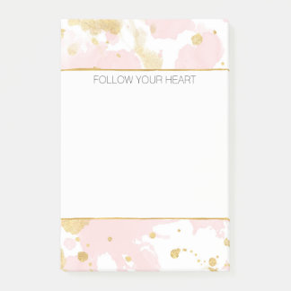Blush Pink Gold Paint Splatters Post-it Notes