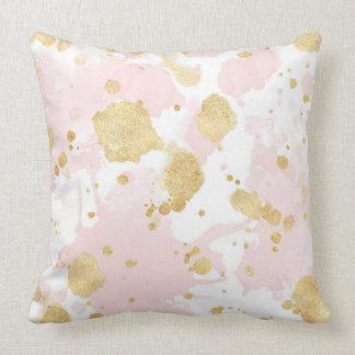 Blush Pink Gold Splatters Abstract Cushion