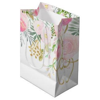 Blush Pink Gold Watercolor Flowers MEDIUM Bags