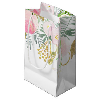 Blush Pink Gold Watercolor Flowers SMALL Bags