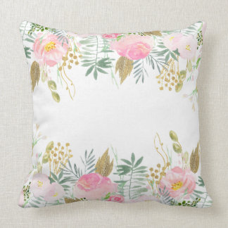 Blush Pink Gold Watercolor Flowers Throw Pillow