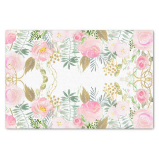 Blush Pink Gold Watercolor Flowers Tissue Paper