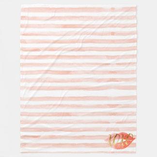 Blush-Pink Gold XOXO Watercolor Kiss Fleece Blanket
