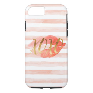 Blush Pink Gold XOXO Watercolor Kiss iPhone 8/7 Case