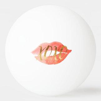 Blush Pink Gold XOXO Watercolor Kiss Ping Pong Ball