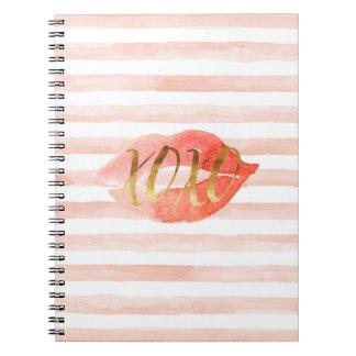 Blush Pink Gold XOXO Watercolor Kiss Spiral Notebook