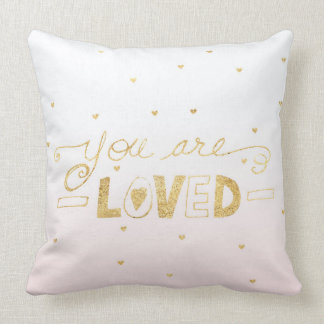 Blush Pink Gold You are Loved Hearts Ombre Cushion