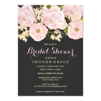 Blush Pink & Gray Floral Bridal Shower Invite