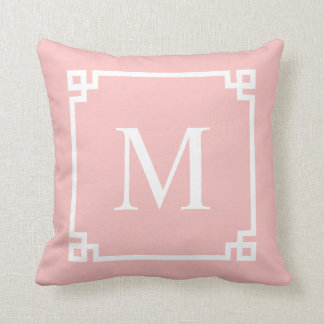 Blush Pink Greek Key Corners | Throw Pillow Throw Cushions