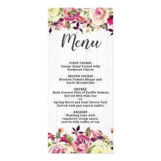 Blush Pink & Green Rose Rustic Wood Wedding Menu
