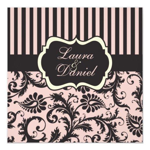 Blush Pink, Grey, Cream Striped Damask Invite 13 Cm X 13 Cm Square Invitation Card