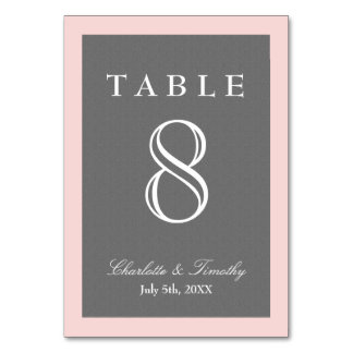 Blush Pink & Grey Elegant Table Cards